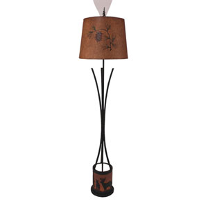 Rustic Living Kodiak and Rugged Brown One-Light Floor Lamp with Night Light
