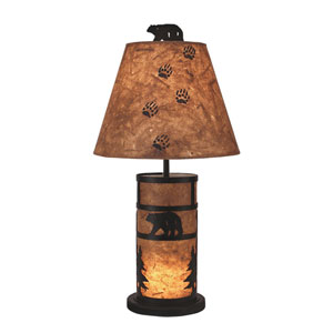 Rustic Living Kodiak and Woodchip Stain One-Light Table Lamp with Night Light