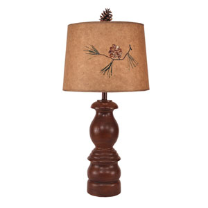 Rustic Living Dark Rattan One-Light Table Lamp