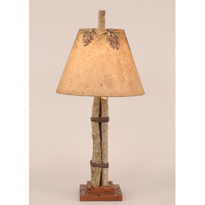 Rustic Living Natural Stain with Leather Accent One-Light Table Lamp