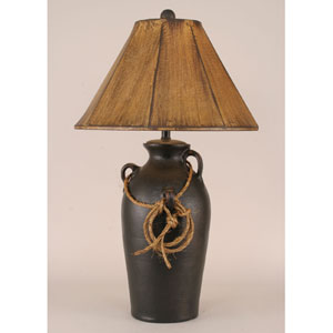 Rustic Living Distressed Black One-Light Table Lamp