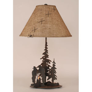 Rustic Living Burnt Sienna One-Light Table Lamp with Night Light