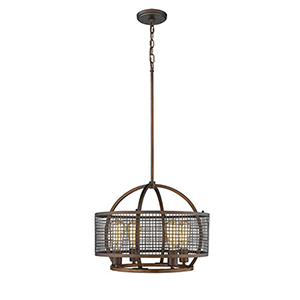 Rubbed Bronze and Wood Grain Four-Light Pendant