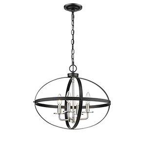 Matte Black and Brushed Nickel 20-Inch Four-Light Pendant