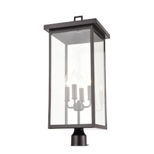 Barkeley Powder Coat Black Four-Light Outdoor Post Lantern With Transparent Glass