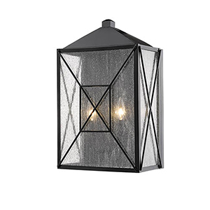 Powder Coat Black 12-Inch Two-Light Outdoor Wall Sconce