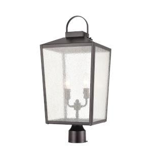 Devens Powder Coat Bronze Two-Light Outdoor Post Lantern With Transparent Glass