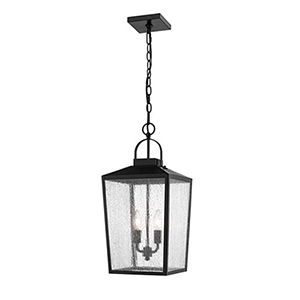 Powder Coat Black Two-Light Outdoor Pendant