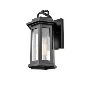 Ellis Powder Coat Black One-Light 7-Inch Outdoor Wall Bracket With Seedy Glass