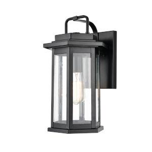 Ellis Powder Coat Black One-Light Outdoor Wall Bracket With Seedy Glass