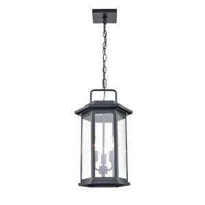 Ellis Powder Coat Black Three-Light Outdoor Hanging Pendant With Seedy Glass