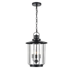 Belvoir Powder Coat Black Three-Light Outdoor Hanging Pendant With Transparent Glass