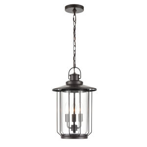 Belvoir Powder Coat Bronze Three-Light Outdoor Hanging Pendant With Transparent Glass
