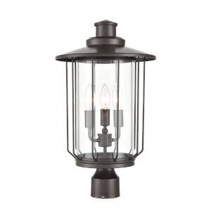 Belvoir Powder Coat Bronze Four-Light Outdoor Post Lantern With Transparent Glass