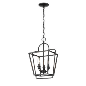 Matte Black 12-Inch Three-Light Pendant