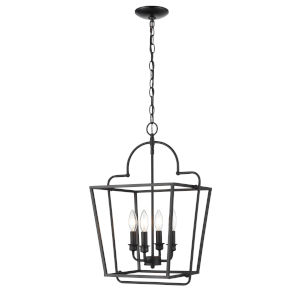 Matte Black 15-Inch Four-Light Pendant