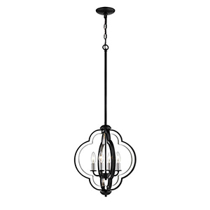 Matte Black and Brushed Nickel Four-Light Pendant