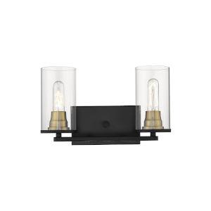 Burbank Matte Black and Heirloom Bronze Two-Light Vanity