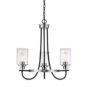 Clifton Matte Black and Brushed Nickel Three-Light Chandelier