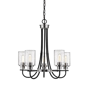 Clifton Matte Black and Brushed Nickel Five-Light Chandelier