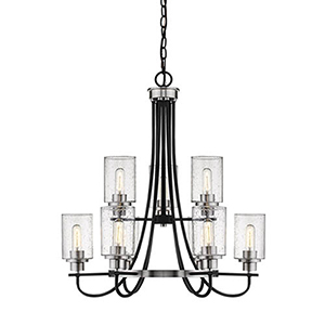 Clifton Matte Black and Brushed Nickel Nine-Light Chandelier