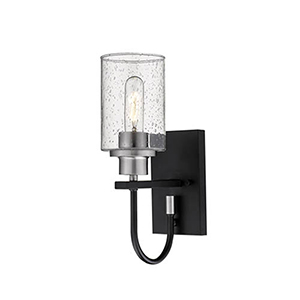 Clifton Matte Black and Brushed Nickel One-Light Wall Sconce