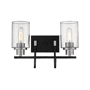 Clifton Matte Black and Brushed Nickel Two-Light Vanity