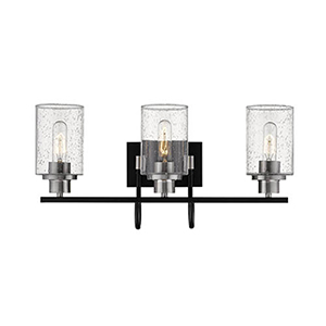 Clifton Matte Black and Brushed Nickel Three-Light Vanity