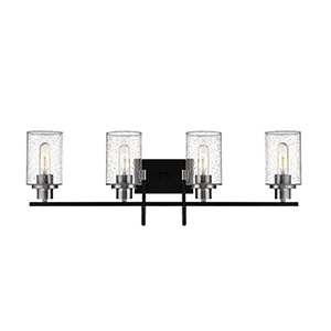 Clifton Matte Black and Brushed Nickel Four-Light Vanity