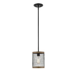 Mesa Matte Black and Wood Grain One-Light Mini-Pendant