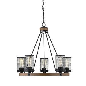 Mesa Matte Black and Wood Grain Five-Light Chandelier