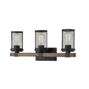 Mesa Matte Black and Wood Grain Three-Light Vanity