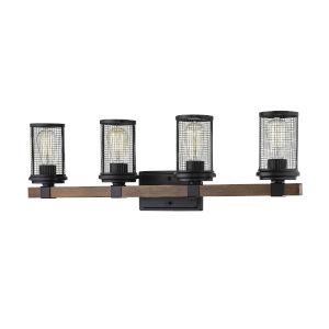 Mesa Matte Black and Wood Grain Four-Light Vanity
