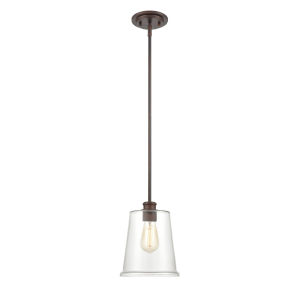 Forsyth Rubbed Bronze One-Light Mini-Pendant With Transparent Glass