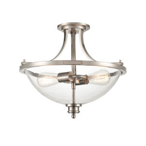 Forsyth Brushed Nickel Two-Light Semi Flushmount With Transparent Glass