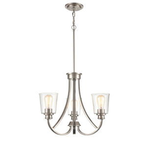 Forsyth Brushed Nickel Three-Light Chandelier With Transparent Glass