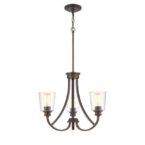 Forsyth Rubbed Bronze Three-Light Chandelier With Transparent Glass