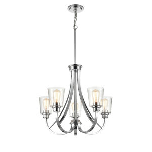 Forsyth Chrome Five-Light Chandelier With Transparent Glass