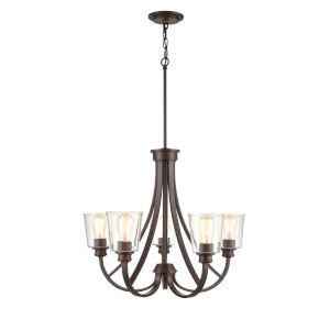 Forsyth Rubbed Bronze Five-Light Chandelier With Transparent Glass