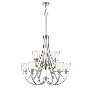 Forsyth Chrome Nine-Light Chandelier With Transparent Glass