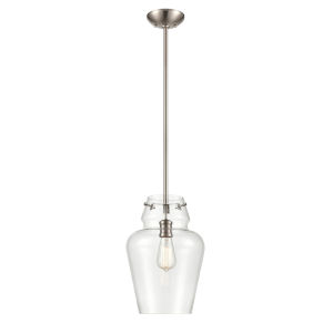 Satin Nickel One-Light 12-Inch Pendant With Transparent Glass