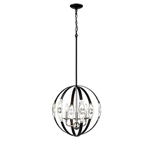 Matte Black and Polished Nickel Three-Light Pendant