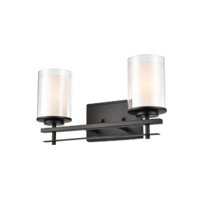 Matte Black Two-Light Wall Sconce