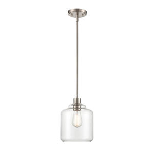 Asheville Satin Nickel One-Light Mini Pendant With Transparent Glass