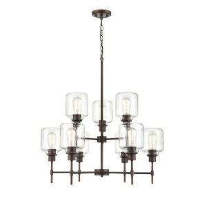 Asheville Rubbed Bronze Nine-Light Chandelier