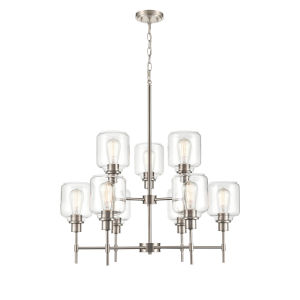 Asheville Satin Nickel Nine-Light Chandelier