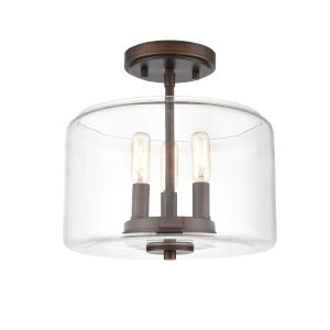Asheville Rubbed Bronze Three-Light Semi Flushmount With Transparent Glass