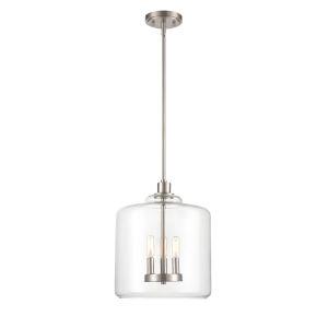 Asheville Satin Nickel Three-Light Pendant With Transparent Glass