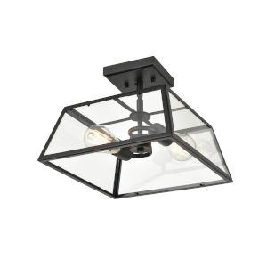 Grant Powder Coat Black Two-Light Outdoor Semi-Flush Mount