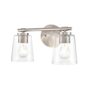 Brushed Nickel Eight-Inch Two-Light Bath Vanity